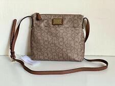 NEW! CALVIN KLEIN CK TEXTURED KHAKI BROWN CROSSBODY SLING BAG PURSE $98 SALE