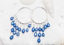 NEW Cute 25mm Hoop Earrings Solid 925 Sterling Silver with denim blue pearls