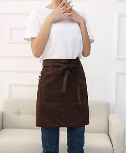 Half Simple Unisex Linen Bib Apron with pockets for Kitchen Home Cafe Florist