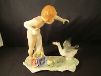 ANTIQUE ART DECO FIGURINE by KARL ENS GERMANY PORCELAIN GIRL With GOOSE