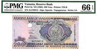 MONEY VANUATU 200 VATU ND 1995 RESERVE BANK PMG GEM UNC PICK 8a VALUE $66