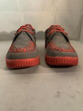 T.U.K Men's Gray Suede w/Red Checkerboard And Soles D-Ring Creepers Size 11