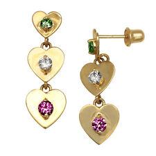 14K Yellow Gold Emerald Zircon Ruby Heart Dangle Stud Screwback Earrings