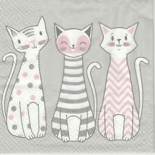 4x Paper Napkins for Decoupage Decopatch Craft Glam Cats