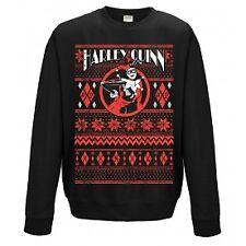 Official DC Comics Batman Harley Quinn Black Fair Isle Unisex Jumper Sweatshirt S