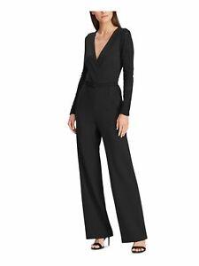 RALPH LAUREN Womens Black Belted Long Sleeve V Neck Jumpsuit Size: 16