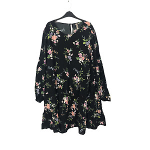 H&M Divided Women's Plus Size 3XL Black Floral Long Sleeve Ruffle Dress NEW