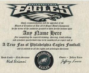 PHILADELPHIA EAGLES NFL TRUE FAN ~CERTIFICATE~DIPLOMA ~MAN CAVE~OFFICE