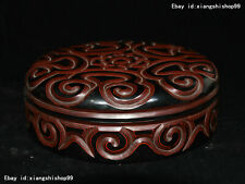 """8"""" Old Chinese Carved Lacquerware TiXi craftwork casket jewel Box Jewelry boxes"""