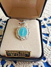 Miraculous Medal BLUE OVAL STERLING SILVER CREED Medal Gift Bx SS4554 DAINTY NEW