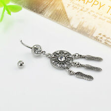 Body Piercing Dream Catcher Rhinestone Plated Belly Button Navel Ring Bar Silver