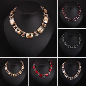 Statement Bib Gem Crystal Choker Necklace Pendant Collar For Women Party Jewelry