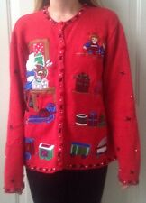 Womens Designer Studio Cute Ugly Christmas Sweater Cute Santa Toys Red Button Up