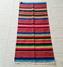 Mexican Falsa Blanket Small Sarape Yoga Mat Multi-Color Aztec Striped Design