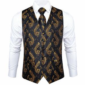 DiBanGu Mens Black Gold Waistcoat Paisley Suit Vest SilkNecktie Hanky Cufflinks