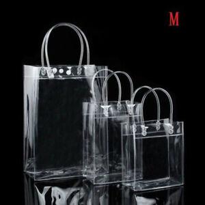 Transparent PVC Gift Wrap with Handles Bag Clear Tote Bags Handbag Reusable Bags