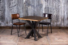 RESTAURANT TABLE INDUSTRIAL STYLE 90X90CM PINE TOP STEEL X FRAME CAFE TABLE