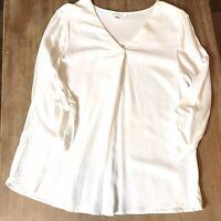 LOVE TREE Womens 3/4 Sleeve Vneck Shirt Blouse White Size S Rayon Soft