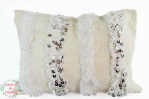 Berber wedding cushion cover Handira sequins Throw pillow Moroccan Handira cover