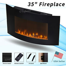 """Flames 35"""" Fireplace Stove Wall Mounted Remote Control Heater LED Electric 1400W"""