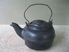 Antique Water Kettle Primitive Cast Iron #7 Tea Pot w/Lid Molder's Mark Gatemark