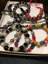 Lot Of 9 Colorful Beaded Stretchable Costume Bracelets