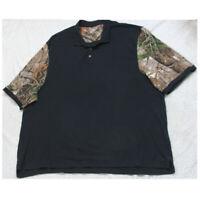 5XLT Cabela's Black Polo Shirt Top Short Sleeve 3-Button Solid Pima Cotton Tall