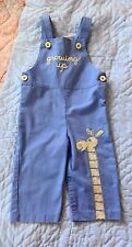"""VINTAGE 18 MONTH BOY'S BLUE COVERALLS CARTERS W GIRAFFE """"GROWING UP"""" SNAP CROTCH"""