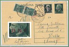 64215  - ITALIA GNR - STORIA POSTALE :  INTERO POSTALE C101 - FUORI CORSO 1944