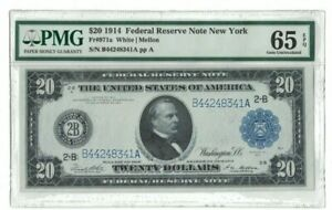1914 US $20 New York Bank PMG 65 EPQ Gem Unc White Mellon Currency Note H0711004