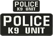 police k9 unit embroidery patches 4x10 and 2x5 hook on back white letters