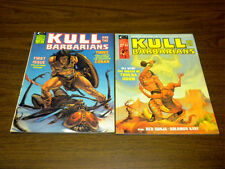 KULL AND THE BARBARIANS #1 & #2 Marvel magazine 1975 CONAN/ROBERT E. HOWARD lot