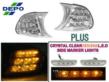 DEPO 99-01 BMW E46 2D/CABRIO AMBER LED CLEAR CORNER LIGHT CLIP-ON + SIDE MARKERS