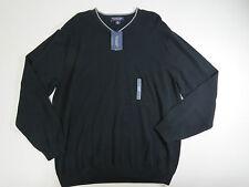 Roundtree & Yorke Mens Black Long Sleeve Cotton V-Neck Sweater SZ X-Large
