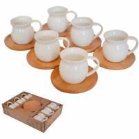 12 Pc Turkish Greek Arabic Coffee Espresso Cup Saucer Porcelain Set (Wooden Sauc