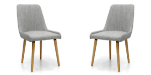 CAPRI FLAX EFFECT GREY WEAVE DINING  CHAIRS x 2 (a pair)