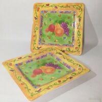 Sango SANGRIA Salad Plates Sue Zipkin 3947153 Fruit Yellow Square Lunch Dish