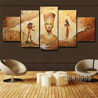 Modern Abstract Huge Wall Decor Oil Painting On Art Canvas 5pc Ancient Egyptian