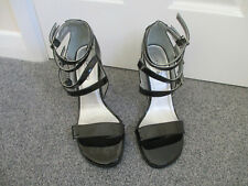 Spot On - black patent, silver stiletto heel sandals with ankle straps - Size 7