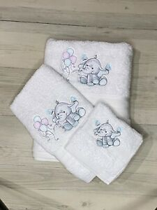 Personalised Towel Kids Baby Newborn Gift Elephant White Hand Towel Face Washer