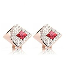 LARGE 14K ROSE GOLD ROSE COLORED ZIRCON CRYSTAL EARRINGS #E70