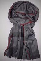 Großer, leichter Schal in DunkelGrau mit schmalen Roten + Schwarzen Streifen
