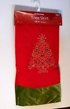 48 IN RED & GREEN JEWELED LINED CHRISTMAS TREE SKIRT HOLIDAY DECORATION