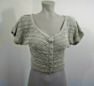 Hollister Gray Crop Top Cardigan Sweater Scoop Neck Size Jrs XS