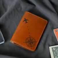 Engraved Genuine Leather Compass Passport Cover Holder Travel Card Case HLT_00