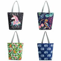 Beach Bag Summer Zipper Shopping Bags Canvas Tote Shoulder Bag Unicorn Handbag