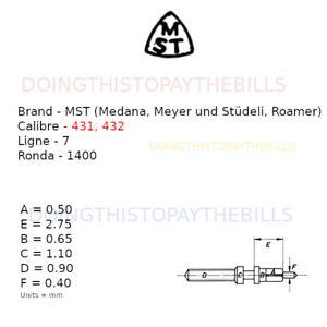 MST (Roamer, Medana, Meyer)  431, 432  - Winding Stem - 7''' Ronda 1400 (JC103)