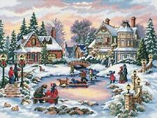 A Treasured Time Victorian Snow Scene Skaters Cross Stitch Kit Dimensions