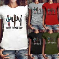 Plus Size Women Cactus Letter Print T-Shirt Girls Cotton Short Sleeve Blouse Top