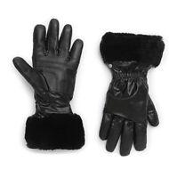 NWT UGG Women's Shearling Cuffed Leather & Nylon Tech Gloves, Black L/XL